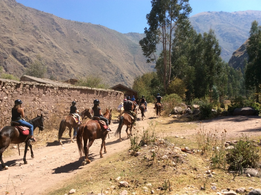 Horseback riding along the sacred valley Peru