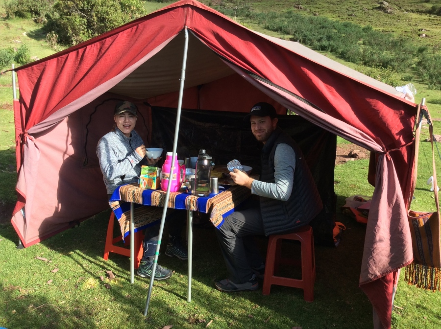Inca quarry trekking food to Machupicchu