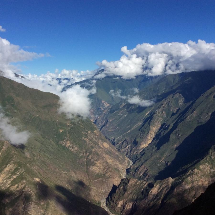 Choquequirao hiking mountains in Peru