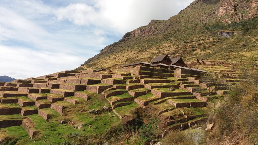 Inca site Huchuy Qosqo Cusco Peru with horseback riding