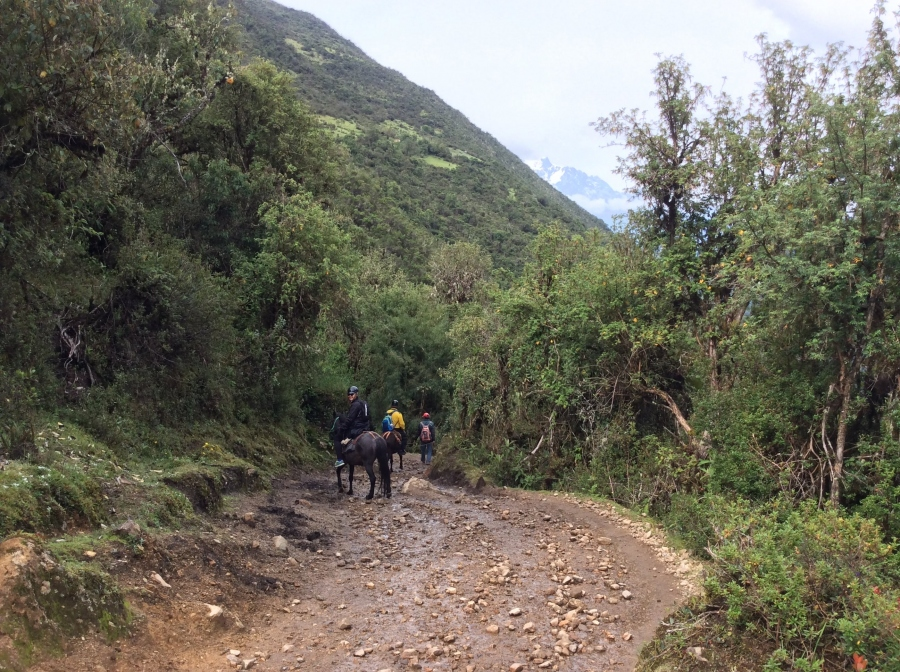 riding horses through Salkantay trekking