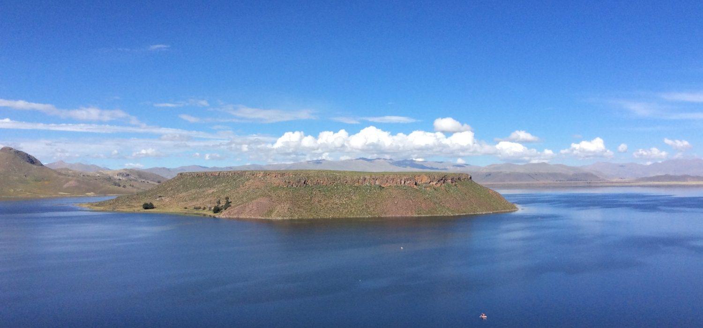 Umayo lake at Sillustani site Puno Peru