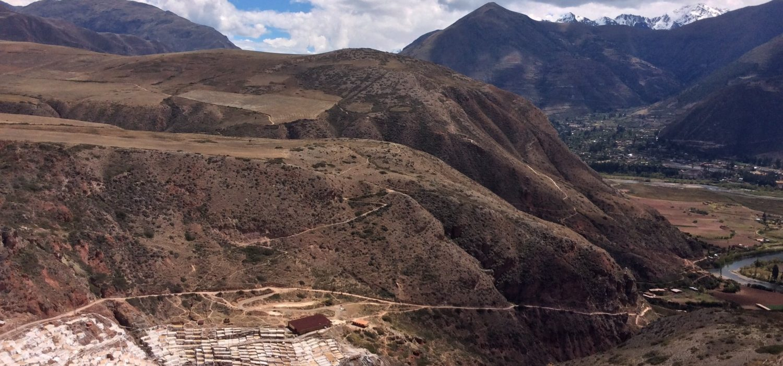 farming valleys of Maras salt mine Peru