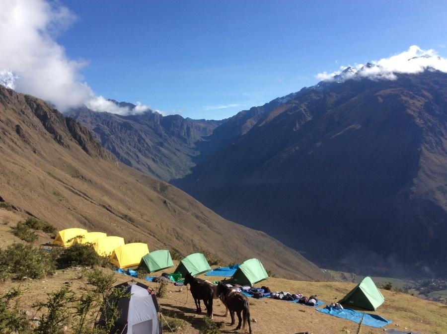 camping along the Ancascocha trekking Peru
