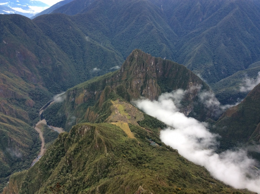 view to Machupicchu from Machupicchu mountain hike