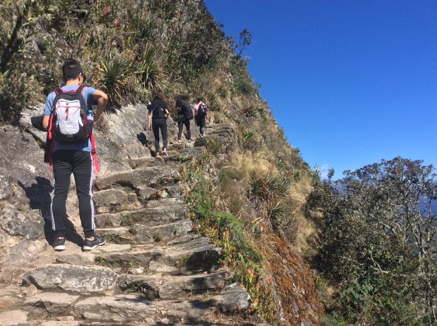 hiking trail to Machupicchu mountain