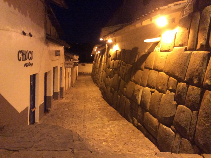 Cusco city tour street at night Peru