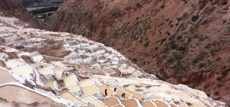 Maras salt mine tour plus pachamama food in Peru