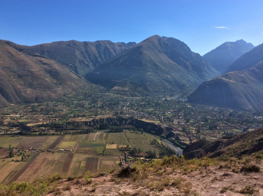 hiking views from salt mine Maras Cusco Peru